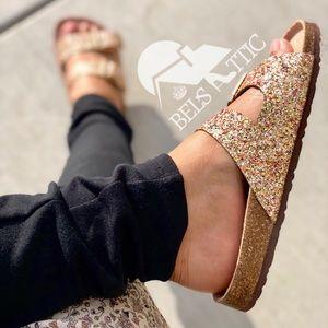 Shoes - Gold Glittered Double Strap Sandal Slides
